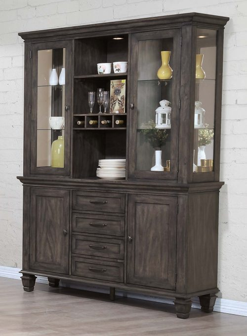 Shades of Gray Collection - Buffet and Hutch - dining room setting DLU-EL-BH