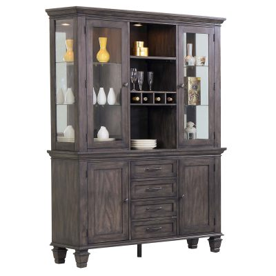 Shades of Gray Collection - Buffet and hutch - three-quarter view DLU-EL-BH