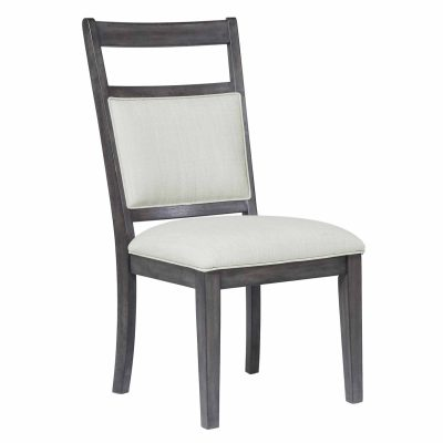 Shades of Gray - Upholstered slat back dining chair - front view DLU-EL-C90-2