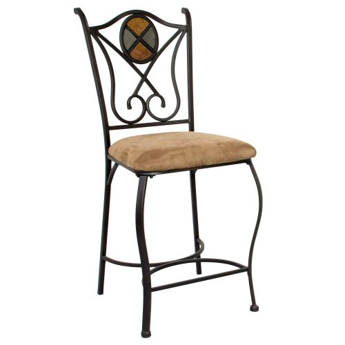 Vail counter height stools - ornate metal base and back with upholstered seat - front view CR-W2597-24-4