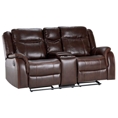 Avant Motion Loveseat w Console in Brown- Angled view- SU-AV8604041-285