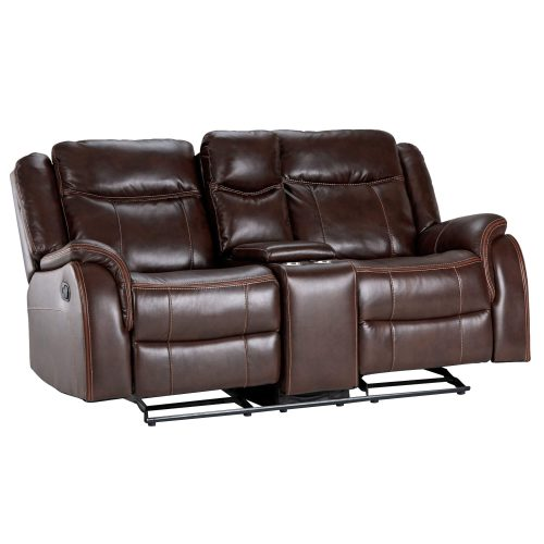 Avant Motion Loveseat w Console in Brown- Angled view rocked back- SU-AV8604041-285