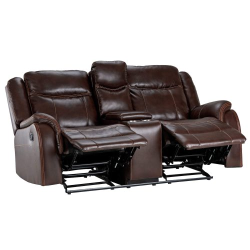 Avant Motion Loveseat w Console in Brown- Angled view with leg rests up- SU-AV8604041-285