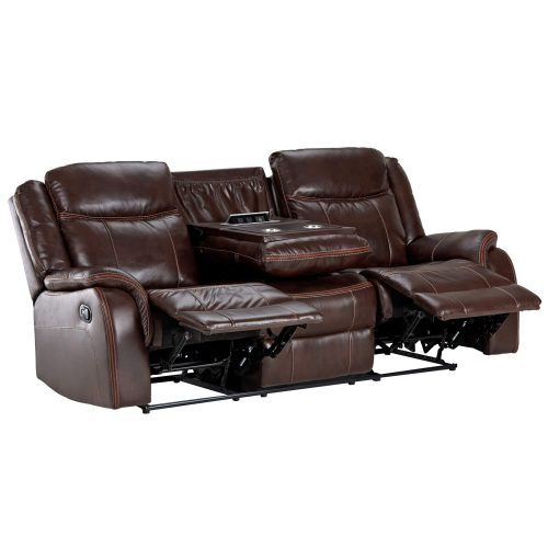 Avant Motion Sofa in Brown- Angled view with middle console down- SU-AV8604041-305