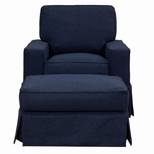 Americana Slipcover Collection: Chair and Ottoman, front view. Fabric color: 391049