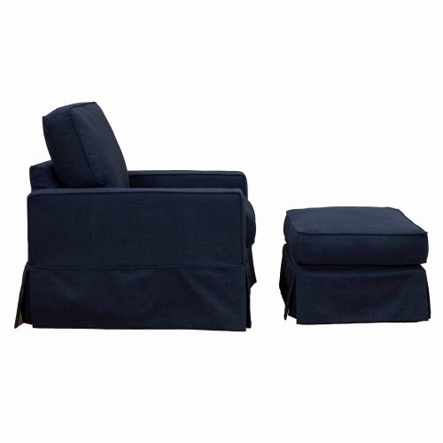 Americana Slipcover Collection Chair and Ottoman side view. Fabric color 391049