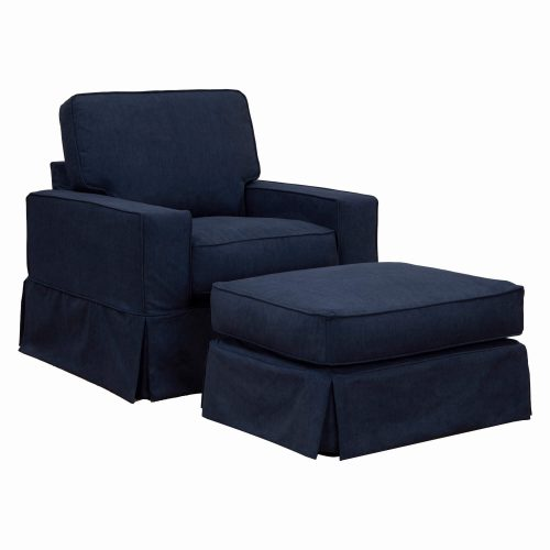 Americana Slipcover Collection Chair and Ottoman, three-quarter view. Fabric color 391049